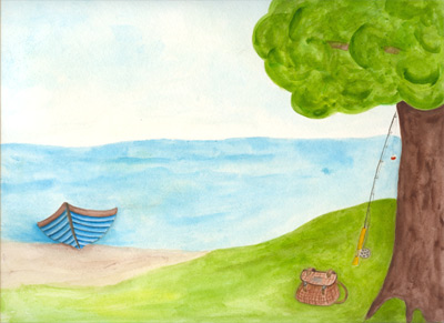 Image of my watercolor - Fishing from Shore